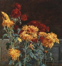 still life with chrysanthemums by harald martin hansen holm