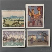 supper waggon; shirasagi castle; half moon bridge; shinjuku (4 works) by toshi yoshida