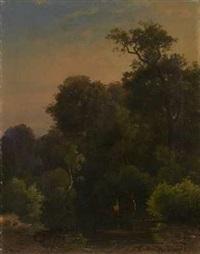 abend über waldstück mit teich und rotwild by karl theodor reiffenstein