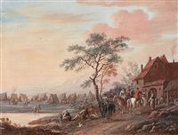 riders at a pond by christoph ludwig agricola