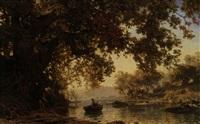 romantische seebucht mit junem paar (meggen) by alfred (wilhelm) metzener