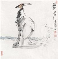 屈原 镜片 设色纸本 by zhou bo