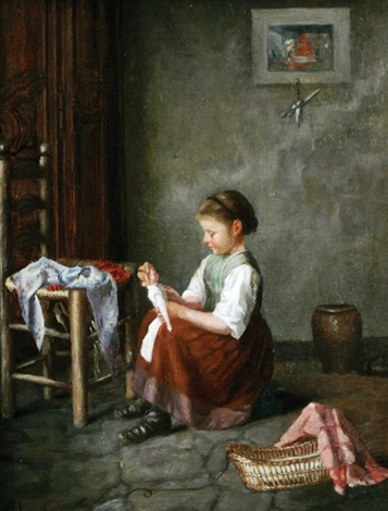 young girl playing with her doll by f haag