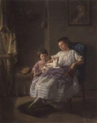porträt hélène und léon leleux mit katze by armand leleux
