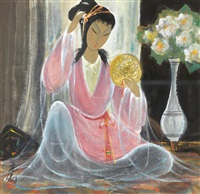 仕女图 镜框 设色纸本 by lin fengmian