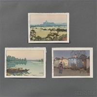 supper waggon; shirasagi castle; yodo river (3 works) by toshi yoshida