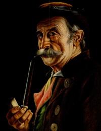portrait eines pfeifenrauchers by franz xavier wölfle