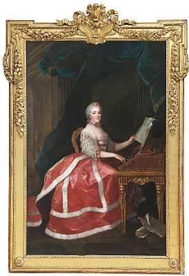 portræt af madame marie louise thérèse victoire i rod kjole kantet med mink stående ved et clavecin by anne baptiste nivelon