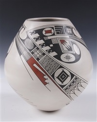 geometric decorated casas grandes pot by juan quezada