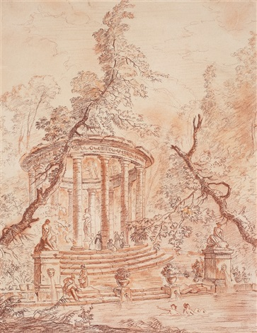 view of a park with bathers by hubert robert