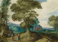 wooded landscape with figural staffage by jasper van der laanen