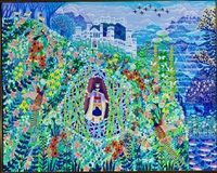composition with a castle, animals and flowers by esben hanefelt kristensen