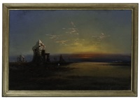 egyptian night - ruins and sunset by james hamilton