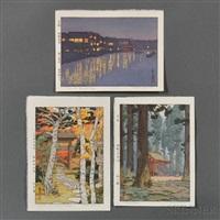 from the ryoguku bridge; sacred grove; sangetsu-an, hakone museum (3 works) by toshi yoshida
