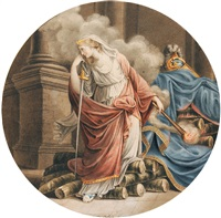 andromaque brûlant le corps d'hector by alexandre isidore leroy