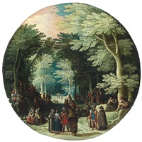 wooded landscape with john the baptist preaching wooded landscape with noblemen by jasper van der laanen