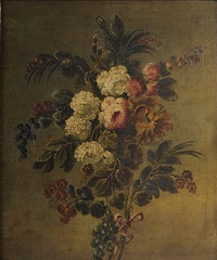 still life with roses, chrysanthemums, redcurrants, blackcurrants and other flowers by cornelis van spaendonck