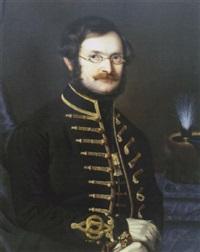 portrait eines herren mit brille in ungarischer magnatenuniform by m. kosarek