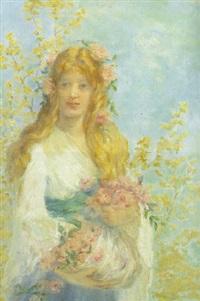 ung kvinde i hvid kjole, lyserode roser og gule blomster by jules cyrille cavé