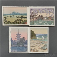 shirasagi castle; pagoda in kyoto; tenryu river; half moon bridge (4 works) by toshi yoshida