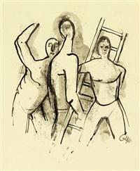men with a ladder by karl hofer