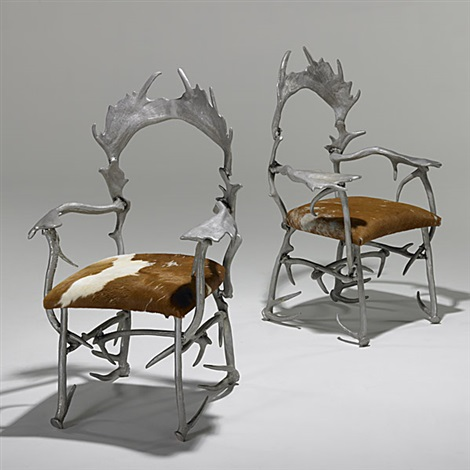 antler chairs pair by arthur court