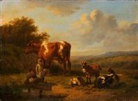 landschaft mit hirten, kuh und drei ziegen by hendrik van de sande bakhuyzen