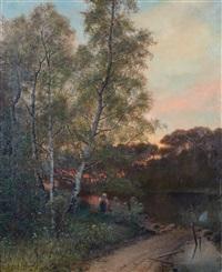 flicka vid vattendrag by oscar törnå