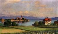 blick von der höhe auf wasserburg-malerwinkel an einem prachtvollen frühlingstag by franz löffler