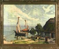 reethaus am wannsee mit angelegten fischerbooten by georg lehmann-fahrwasser