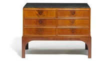chest of drawers with six profiled drawers by kaj gottlob