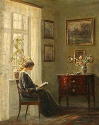 drawing room interior with a reading lady at the window by hans hilsoe