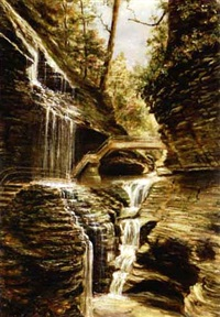 watkins falls, near glen falls, new york by american school-hudson river (19)