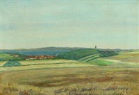 landscape with view over a city, in the background a church by georg nicolaj achen