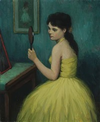 portrait of a young woman in a yellow dress by helge helme
