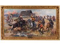 kosakenreiter im kampf mit polnischen gardisten by julius stabiak