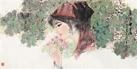 春深十里红 镜片 设色纸本 by lin zhengming