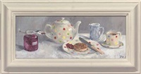 crumpets and jam for tea by julie fleming-williams