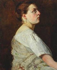 profile portrait of a young woman wearing a short sleeved white shirt with a gray shawl by gustaf-oskar björk