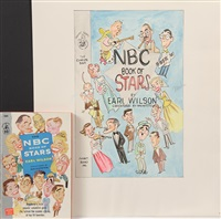 caricatures for the cover of 1957 'the nbc book of stars' by earl wilson, including color layout, sketches & groucho marx portrait by george wachsteter