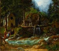 in der ramsau. kirchgänger an einem wilden gebirgsbach by gustav reinhold