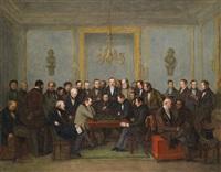 das berühmte schachspiel zwischen howard staunton und pierre charles fourrier saint-amant, am 16. dezember 1843 by jean henri marlet