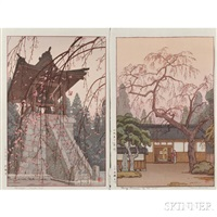 heirinji temple bell; cherry blossoms by the gate (2 works) by toshi yoshida