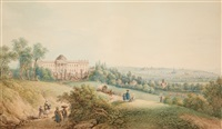 laken castle with park and view of brussels by ferdinand runk