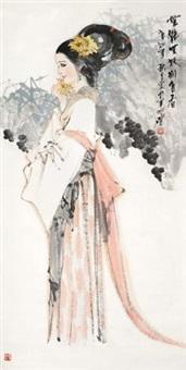 无艳无妖别自香 立轴 设色纸本 by lin zhengming