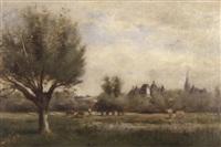 landschaft mit weidenden kühen und dorfsilhouette by charles edmond renault