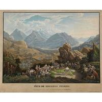 fète de bergers suisses sur la balis-alp, près de meyringen cant. de berne by franz hegi