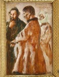 rabbiner im gespräch mit einem paar by stanislaw reichan