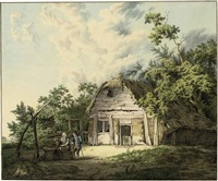 a ruined farmhouse in a wooded landscape, with a couple conversing by a well by johannes huibert (hendric) prins
