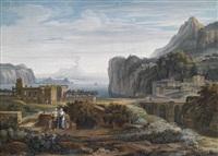 idealisierte landschaft, ansicht von ischia by carl ludwig kaaz